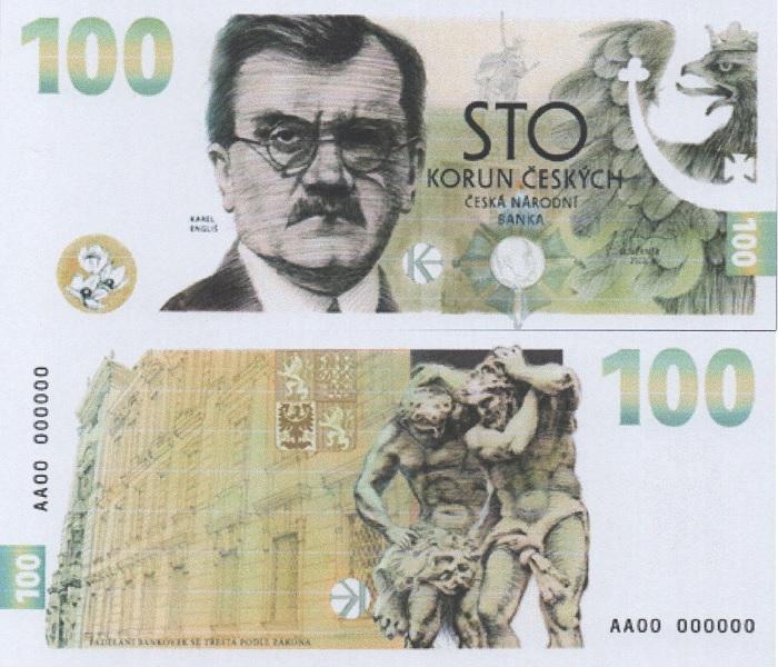 Anverso y reverso del nuevo billete de 100 coronas de la República Checa