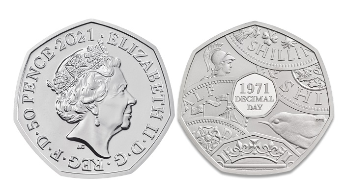 Moneda de 50 peniques dedicada al 50 aniversario de la decimalización del sistema monetario británico