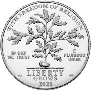 Anverso de la moneda de platino dedicada a la libertad religiosa, acuñada por la US Mint