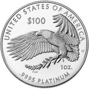 Reverso de la moneda de platino dedicada a la libertad religiosa, acuñada por la US Mint