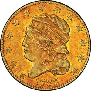 Anverso del medio Eagle de oro de 1822