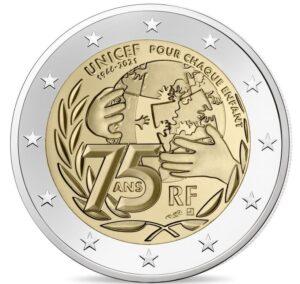 Anverso de la moneda conmemorativa de dos euros dedicada al 75 aniversario de UNICEF