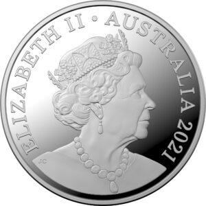 Anverso de la moneda de plata del Centenario del Club Rotario en Australia