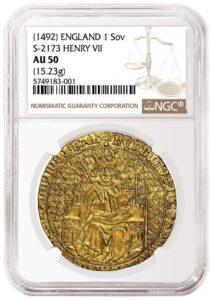 Anverso del soberano de oro de Enrique VII