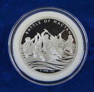 Reverso de la medalla de plata conmemorativa del 500 aniversario de la Batalla de Mactan