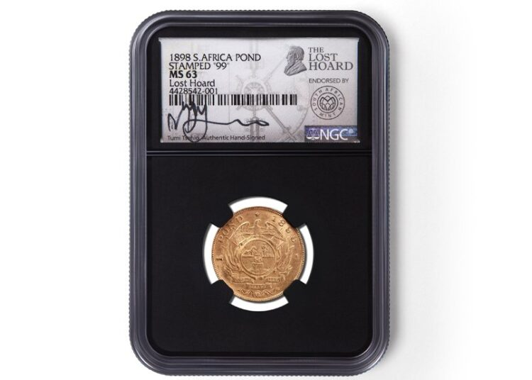 Moneda de oro sudafricana perteneciente al tesoro perdido