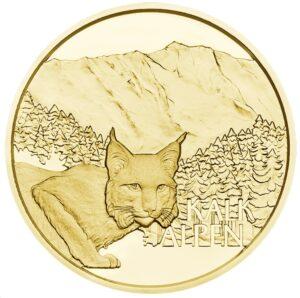 Reverso de la moneda dedicada a los bosques alpinos por la Münze Österreich