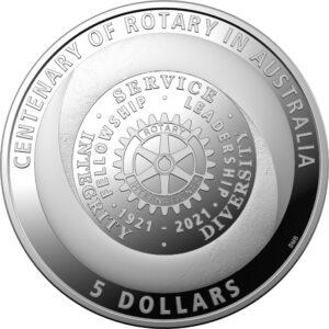 Reverso de la moneda de plata del Centenario del Club Rotario en Australia