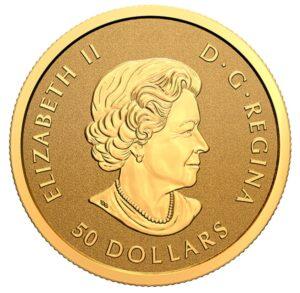 Anverso de la moneda de una onza de oro dedicada al 125 aniversario de la Fiebre del Oro del Klondike