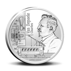 Anverso de la moneda de plata dedicada al 175 aniversario del nacimiento de Charles Van Depoele