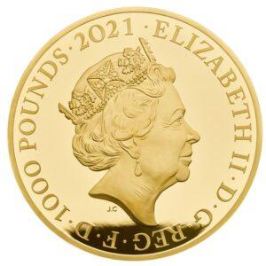 Anverso de la moneda de un kilo de oro dedicada al 95 aniversario de la reina Isabel II