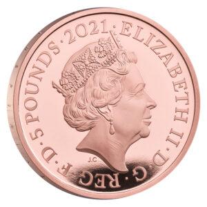 Anverso de la moneda de oro conmemorativa del 150 aniversario del Royal Albert Hall