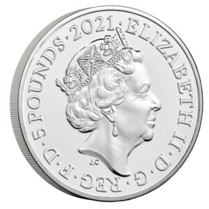 Anverso de la moneda de plata dedicada al 150 aniversario del Royal Albert Hall