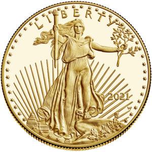 Anverso del American Eagle de oro versión proof 2021