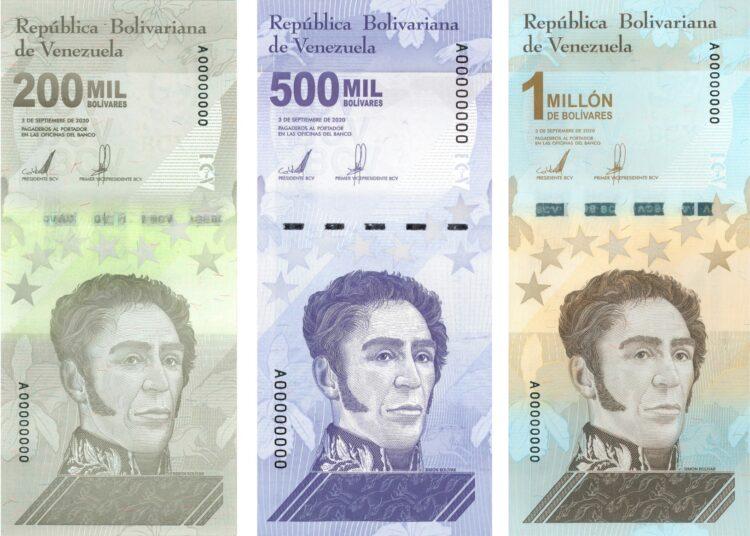 Anversos de los nuevos billetes de Venezuela