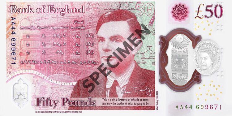 Reverso del nuevo billete de 50 libras esterlinas dedicado a Alan Turing