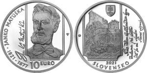 Moneda dedicada al 200 aniversario del poeta eslovaco Janko Matúska