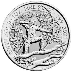 Reverso de la moneda de plata de Robin Hood