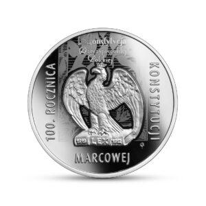 Reverso de la moneda de plata dedicada al Centenario de la Constitución de Marzo de Polonia