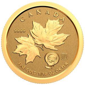Reverso de la moneda de 1/10 de onza de oro dedicada al 125 aniversario de la Fiebre del Oro del Klondike