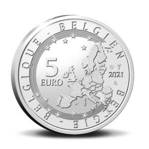 Reverso de la moneda de plata dedicada al 175 aniversario del nacimiento de Charles Van Depoele