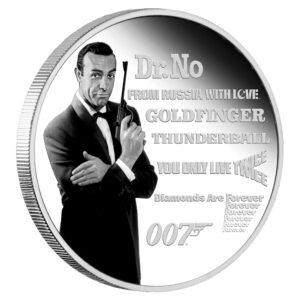 Reverso de la moneda de James Bond acuñada por la Perth Mint