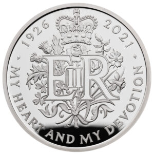 Reverso de la moneda dedicada a la reina Isabel II por su 95 aniversario, diseñado por Timothy Noad