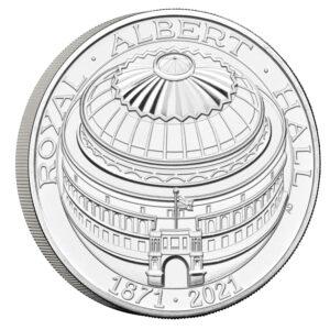 Reverso de la moneda de plata dedicada al 150 aniversario del Royal Albert Hall
