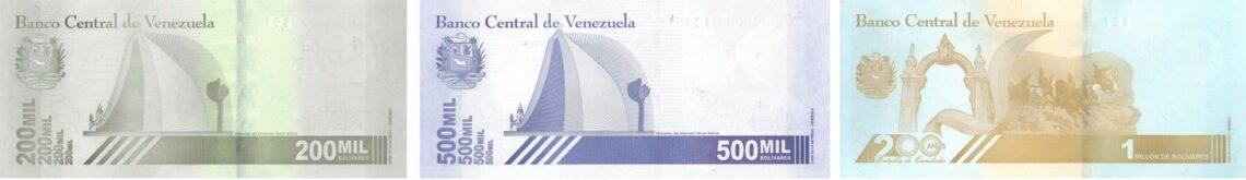 Reverso nuevos billetes de Venezuela