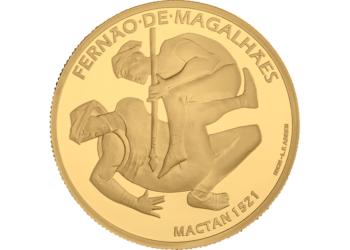 Reverso de la moneda de oro dedicada a la muerte de Magallanes en Mactán