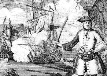 Grabado con la imagen del Capitán Henry Every y el abordaje del Fancy