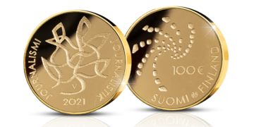 Moneda de oro conmemorativa del centenario de la Asociación de Periodistas de Finlandia