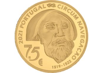 Reverso de la moneda dedicada a la muerte de Magallanes en Mactán