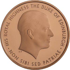 Reverso de la moneda de oro acuñada en 2017 y dedicada al príncipe Felipe de Edimburgo
