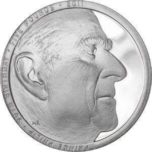 Reverso de la moneda de plata conmemorativa del 90 aniversario del príncipe Felipe