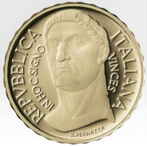 Anverso de la moneda de oro dedicada por Italia a Constantino el Grande