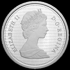 Anverso de la moneda dedicada al 150 aniversario de la incorporación de Manitoba a la Confederación canadiense
