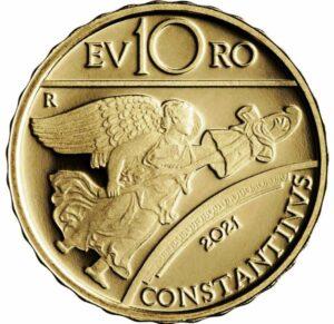 Reverso de la moneda de oro dedicada por Italia a Constantino el Grande