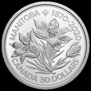 Reverso de la moneda dedicada al 150 aniversario de la incorporación de Manitoba a la Confederación canadiense