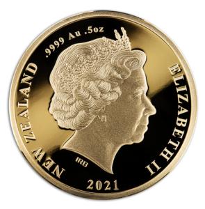Anverso de las monedas de oro dedicadas por Nueva Zelanda a Tangaroa