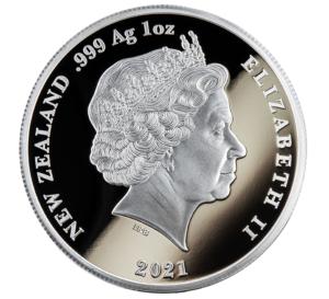 Anverso de las monedas de plata dedicadas por Nueva Zelanda a Tangaroa