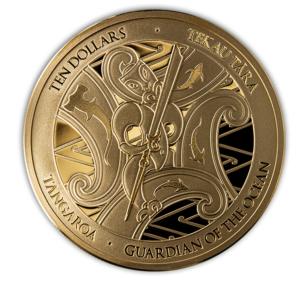 Reverso de la primera moneda de oro dedicada por Nueva Zelanda a Tangaroa