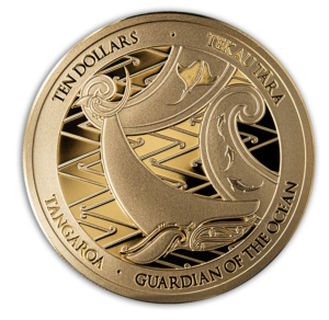 Reverso de la segunda moneda de oro dedicada por Nueva Zelanda a Tangaroa
