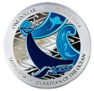Reverso de la segunda moneda de plata coloreada dedicada por Nueva Zelanda a Tangaroa