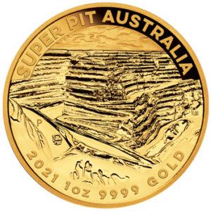 Reverso de la moneda de oro dedicada a la mina de oro Super Pit (2021)