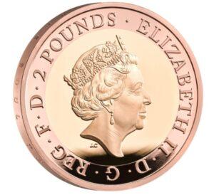 Anverso moneda oro Walter Scott