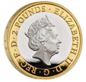 Anverso moneda de plata Walter Scott
