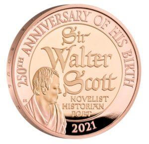 Reverso de la moneda de oro de Walter Scott