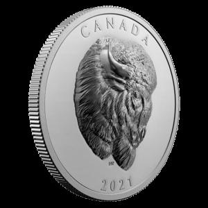 Reverso de la moneda de plata dedicada al bisonte por la Royal Canadian Mint
