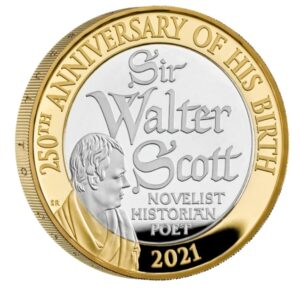 Reverso de la moneda de plata de Walter Scott